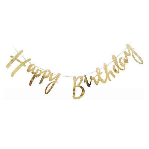 Happy Birthday Script Bunting Gold