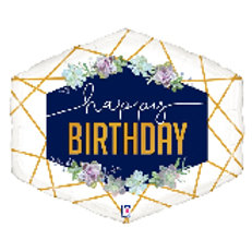 Balloon Super Shape Happy Birthday Floral Navy