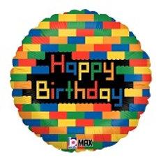 Foil Balloon -Bricks HBD