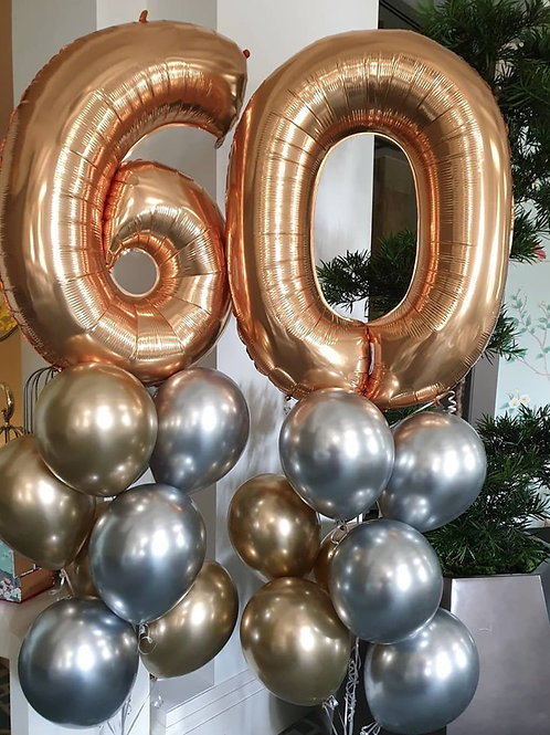 Balloon Bouquet 2 Digit Number Megaloon Chrome