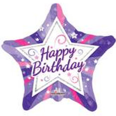 Foil Balloon Purple Star HBD