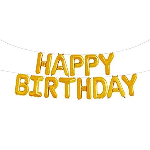 Happy Birthday Balloon Banner Gold