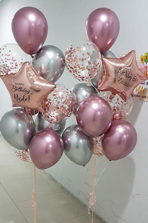 Name Balloon Bouquet Confetti