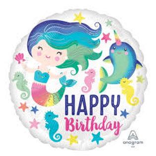 Foil Balloon Mermaid Seahorse HBD