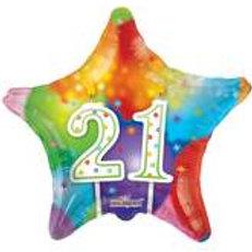 Foil Balloon 21st Star HBD