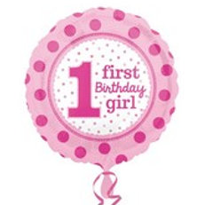 Foil Balloon 1st Girl Dots HBD
