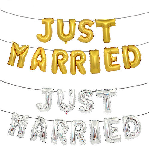Just Married Foil Bunting