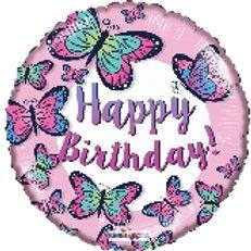 Foil Balloon Purple Butterflies HBD