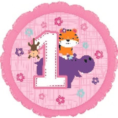 Foil Balloon 1st Pink Hippo