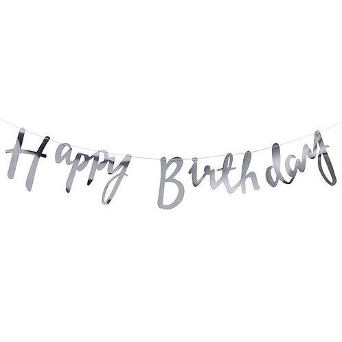 Happy Birthday Script Bunting Silver