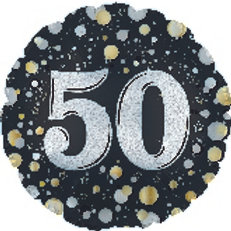 Foil Balloon 50th Black Gold