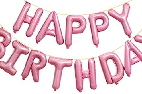 Happy Birthday Balloon Banner Pink
