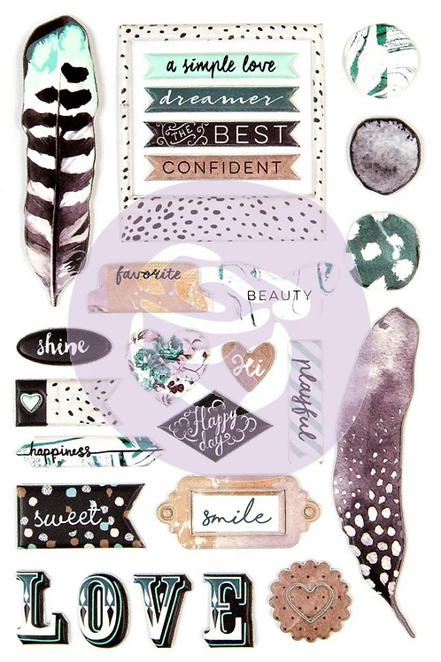 Prima Marketing Zella Teal Puffy Stickers