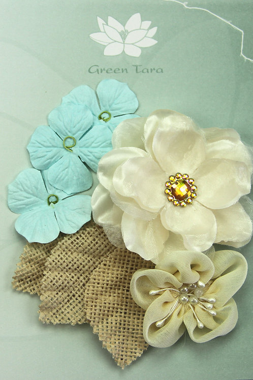 Green Tara Fabric Flowers - Blue Hydrangea