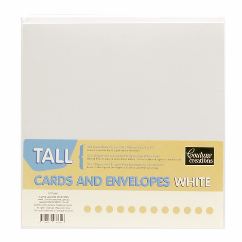 Couture Creations Tall Cards & Envelopes - White
