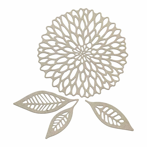 Couture Creations Chipboard - Dahlia & Leaves Set