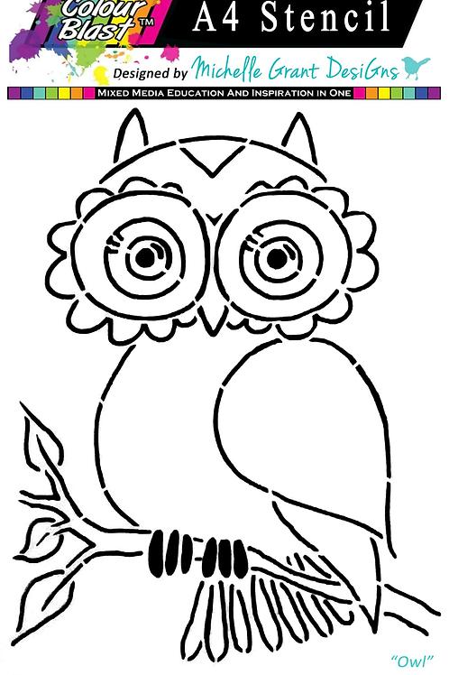 Bee Arty - Flight of Fantasy - Owl A4 Stencil