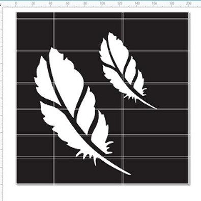 "Feather 8""x8"" Stencil"