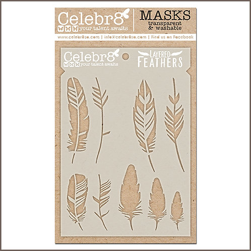 Celebr8 - Layered Feathers Stencil