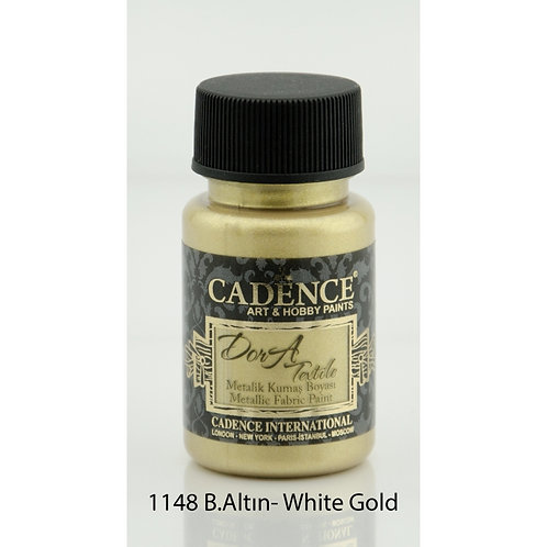 Cadence Dora Metallic Fabric Paint - 1148 White Gold