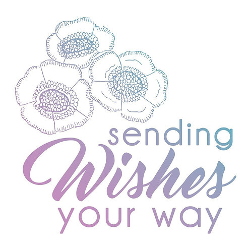 Couture Creations Le Petit Jardin Mini Stamp - Sending Wishes