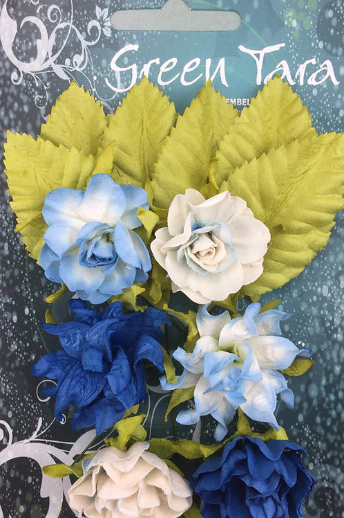 Green Tara Tea Roses - Bright Blue