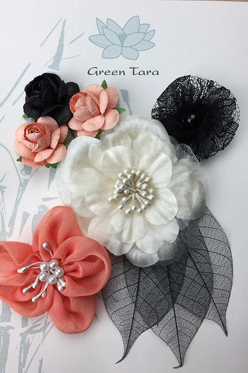 Green Tara Fabric Flowers - Kimono