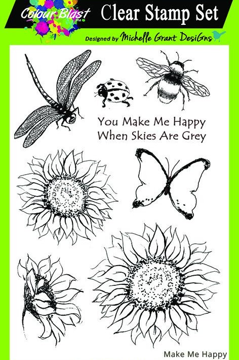 Bee Arty - Love & Grace - Make Me Happy Red Rubber Stamp Set