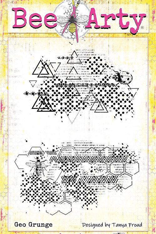 Bee Arty - three six five - Geo Grunge Clear Stamp Set