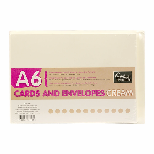 Couture Creations A6 Cards & Envelopes - Cream