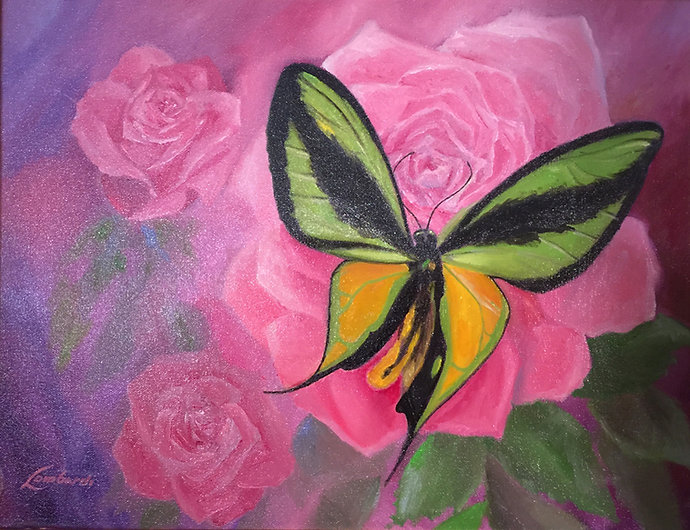 Painting of a butterfly on purple background by Robert Bob Lombardi | The Lombardi Gallery | San Anotnio, Texas