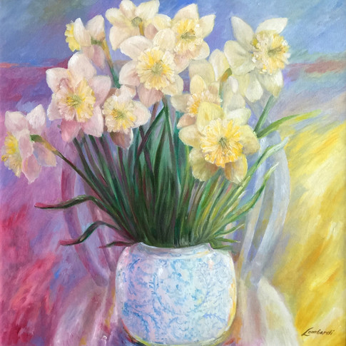 Daffodils on a Chair, Oil on Canvas, 20 x 24