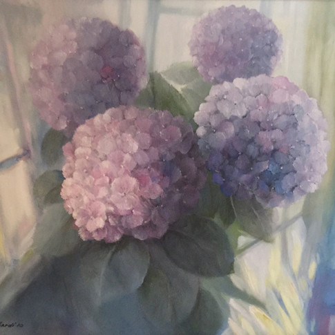 Misty Hydrangeas, Oil on Canvas, 19 x 24