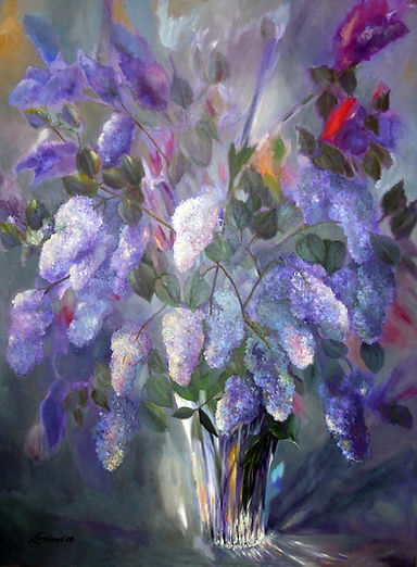 purple wisteria lilac flowers by texas artist bob lombardi of the lombardi gallery | original oil and acrylic painting on canvas | the lombardi gallery | san antonio, texas