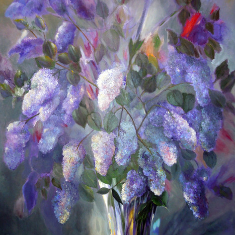 A View Of Lilacs, Oil on Canvas, 30 x 40