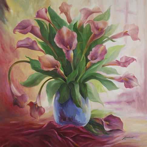 Presenting Pink Lillies, 20 x 20