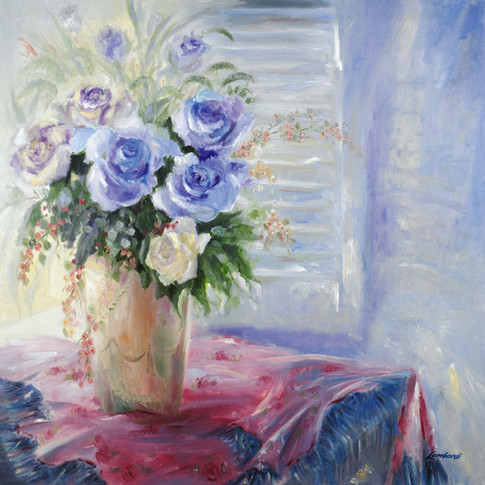 Romance In Blue, Oil on Canvas, 20 x 20