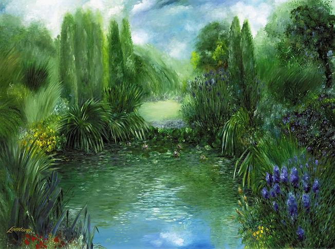 Pond with tall green grasses   Marsh Landscape   Original fine art painting by Texas artist Bob Lombardi   The Lombardi Gallery   San Antonio, Texas