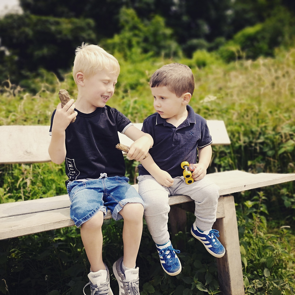 brothers sat on a bench