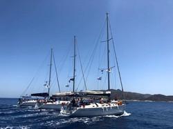 Sailboats sailing together