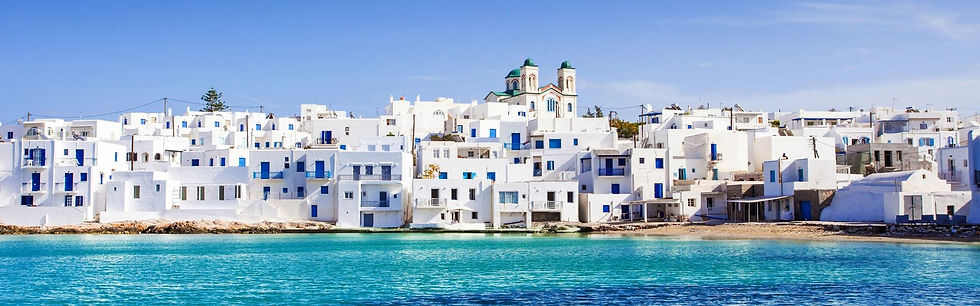 Cycladic village, over the Aegean sea