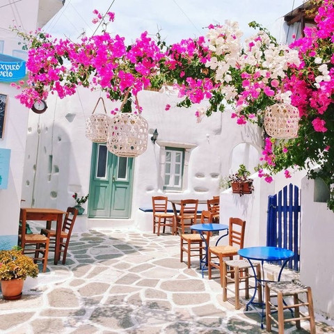 Colorful Cycladic alleys