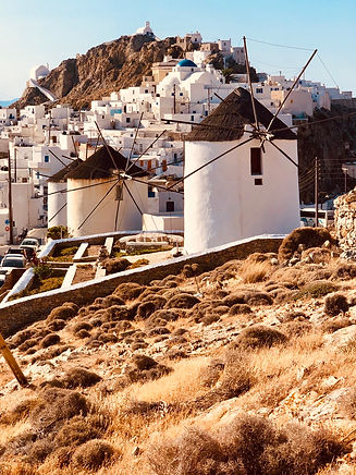 White-washed Village on the top of the Cycladic Island