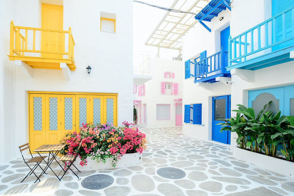 Colourfull alleys in the Cyclades