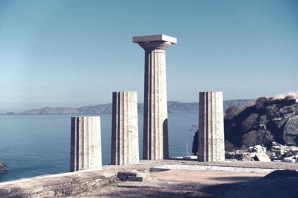 Greek Monument over the Aegean sea