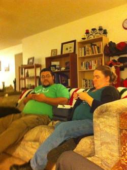 Dec 2010 (8 mo pregnant, knitting)