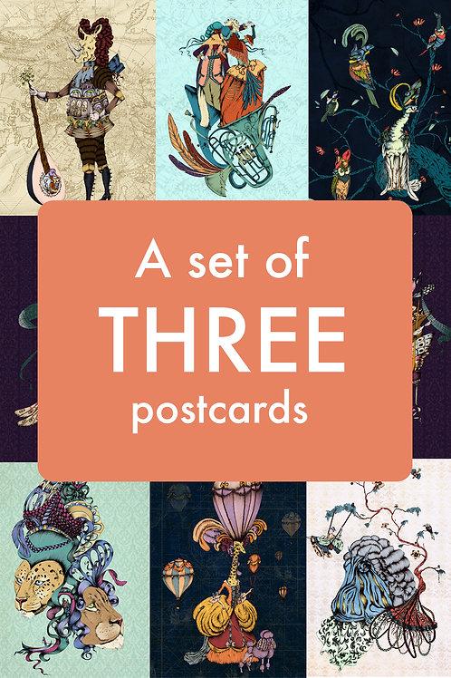A set of three postcards