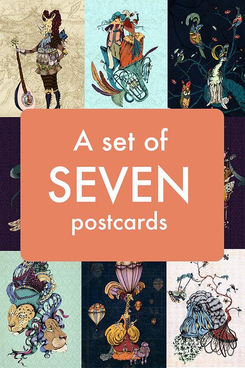 A set of seven postcards