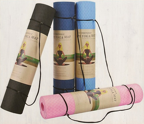Earth Friendly, Non-Slip Yoga Mat with Position Line