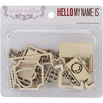 Teresa Collins - Hello My Name Is - Die Cut Wood